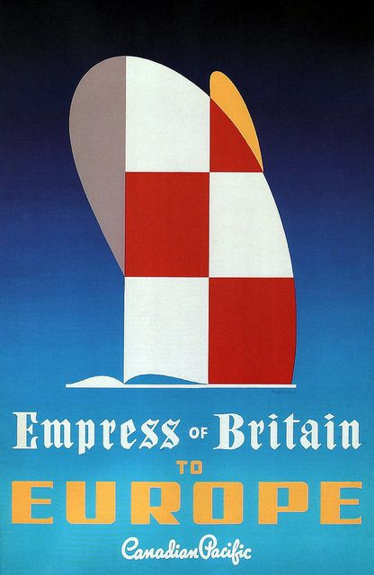 Empress of Britain Canadian Pacific cruise ship  vintage travel poster
