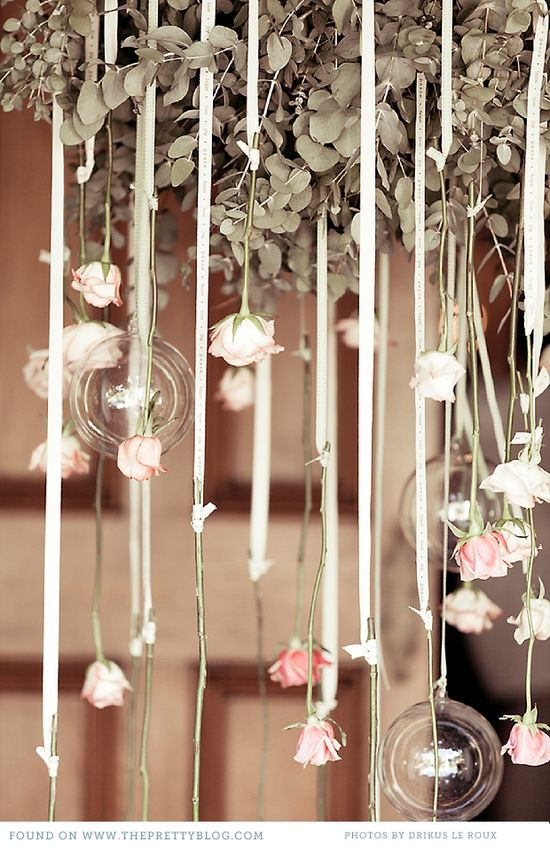 Hanging roses with glass balls ... Love this