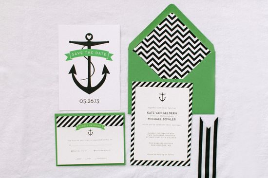 Preppy nautical invites, inspired by a pair of Kate Spade heels. New Bedford Wedding from Ruth Eileen Photography  Read more - www.stylemepretty...