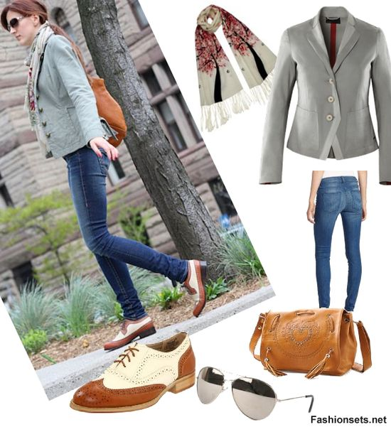 Wear Oxford Shoes With Skinny Jeans and a Blazer