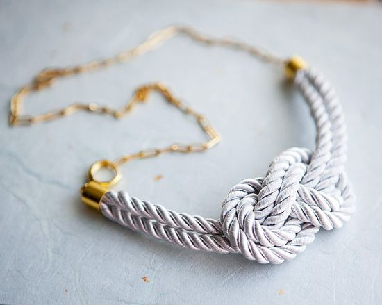 White Nautical Knot  Rope Necklace with golden chain by pardes, $28.00