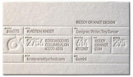 business card: letterpress business card
