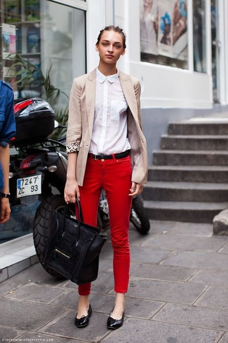 Red chinos and crisp, white blouse