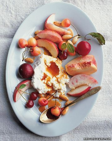 Stone Fruits with Honey-Drizzled Soft Cheeses and Toasted Almonds
