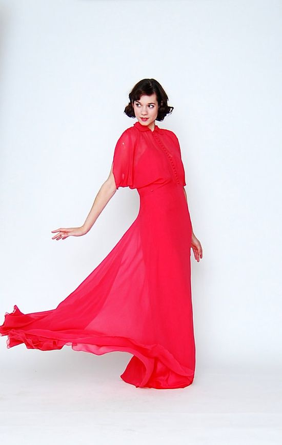 1930s red chiffon dress -