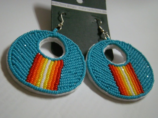 Native American Beaded Turquoise earrings by Oglalawin on Etsy