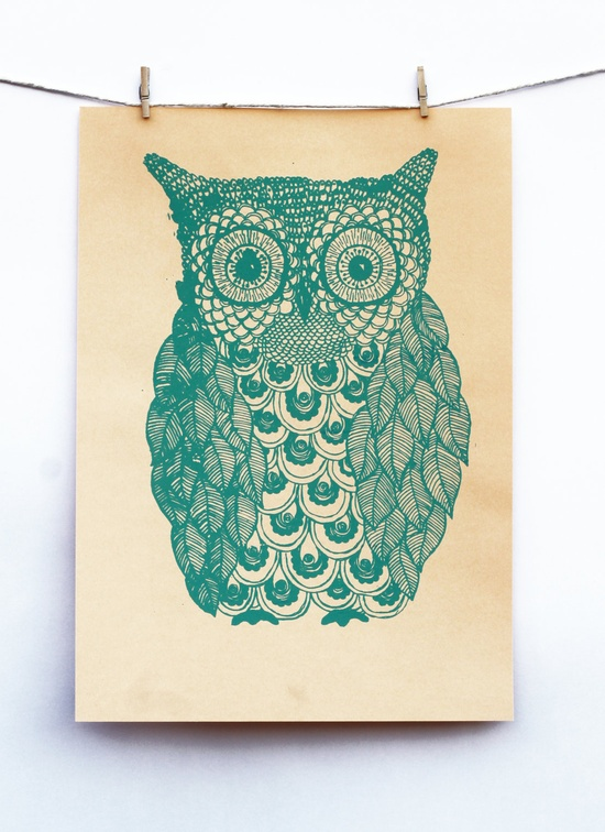 Owl Illustration in Green & Peach.
