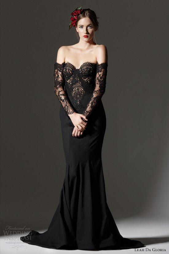 leah da gloria 2013 bridal black off shoulder long sleeves gown