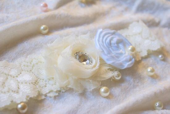 Ivory and WHITE Wedding Garter Bridal Garter  by Samistreasure, $11.99