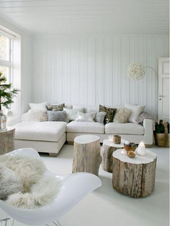 #White living room, #wood stumps