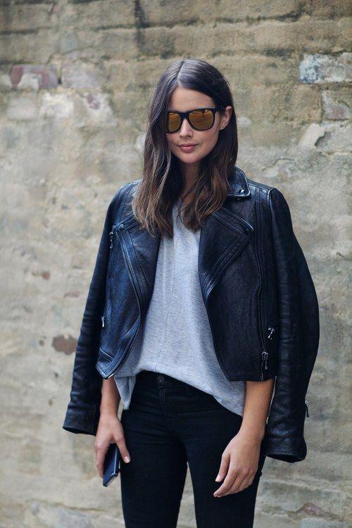 chaqueta de cuero negro + colores.
