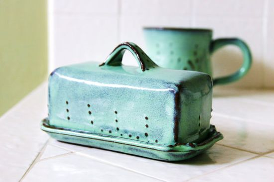 Covered Butter Dish  Aqua Turquoise Mist  French by BackBayPottery, $34.00