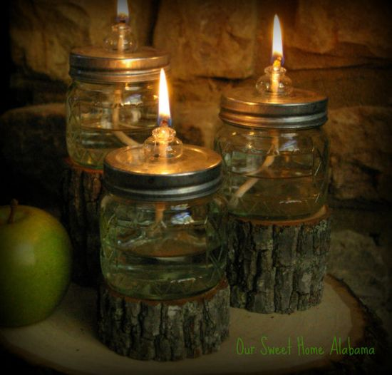 DIY Mason Jar Oil Lamps, EMERGENCY supplies that are cool! Link to Martha diy