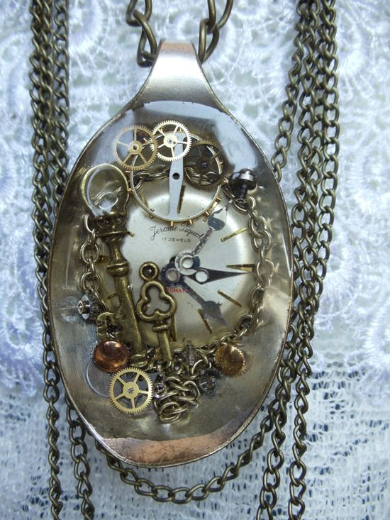 Steampunk spoon necklace OOAK steampunk by Charsfavoritethings, $50.00