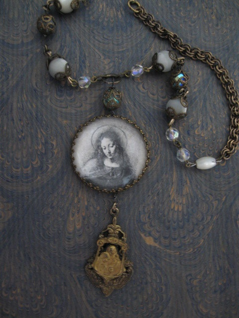 Serenity... vintage assemblage necklace