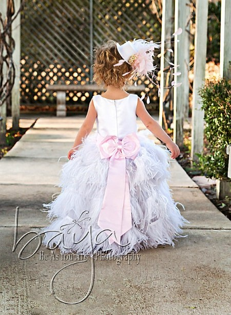 Glam Feather Dress. Cute flower girl dress