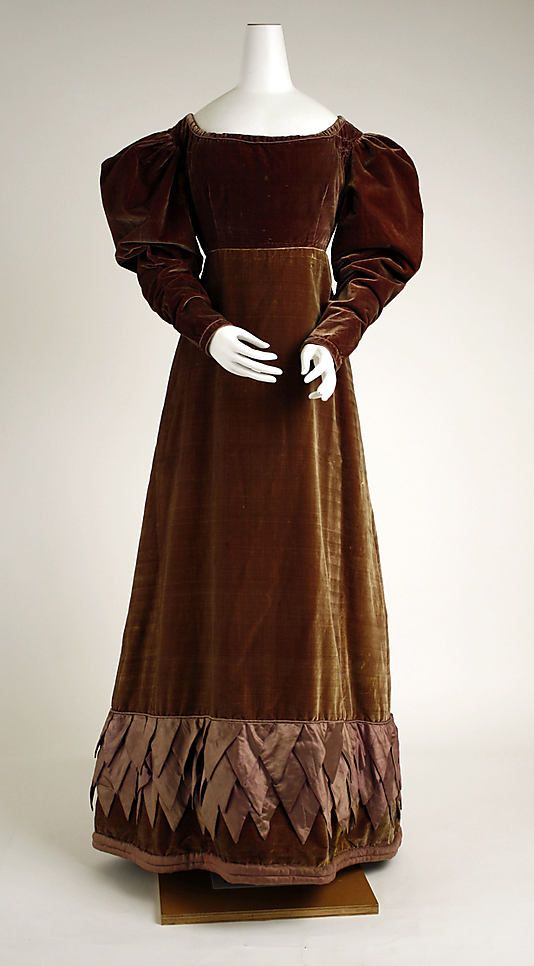 Dress ca. 1820, British. (Probably brown silk velvet with silk shot trim.) - in the Metropolitan Museum of Art costume collections.