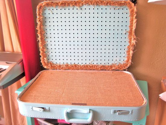 Upcycled Vintage Luggage Jewelry Display and Storage for Shows in Aqua Blue. $50.00, via Etsy.