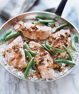 One-Pot Salmon With Snap Peas and Rice recipe from realsimple.com #myplate #protein #vegetables