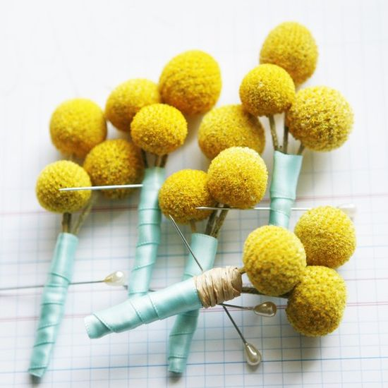 Amazing boutonnieres, substitute the aqua ribbon for gray.