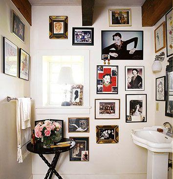 photos in the bathroom. Marian Mcevoy's bathroom in Domino Mag