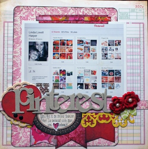 A scrapbook layout about Pinterest....what a fun idea!
