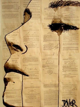 "Saatchi Online Artist Loui Jover; Drawing, ""content"" #art drwaing on physics and maths sketches totally describes me"