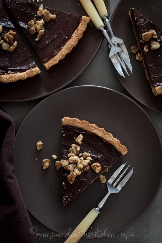 Chocolate Date Caramel Walnut Tart. #food #tarts #dessert
