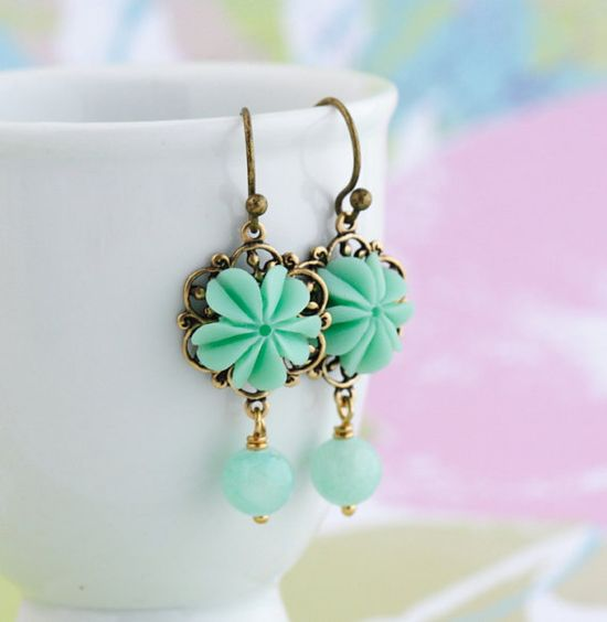 Sea Foam Green Earrings Flower Earrings Soft by JacarandaDesigns