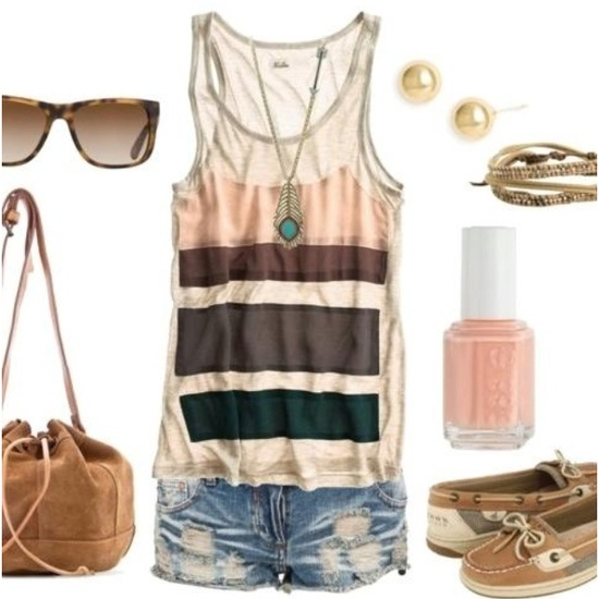 summer style! tank with worn cut-offs. so cute