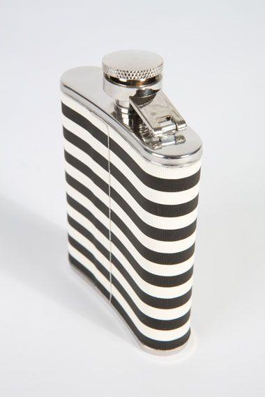 stripe hip flask