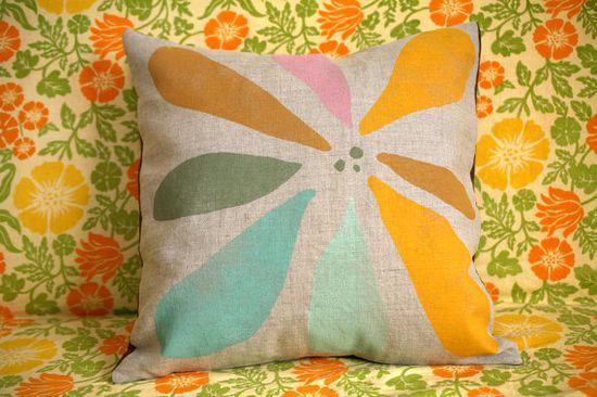 Gorgeous blockprinted linen pillow throw pillow case.