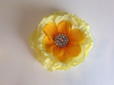 Yellow Flower Hair Clip with Crystal Rhinestone Button - Girls, Women Hair Accessory - One of a Kind
