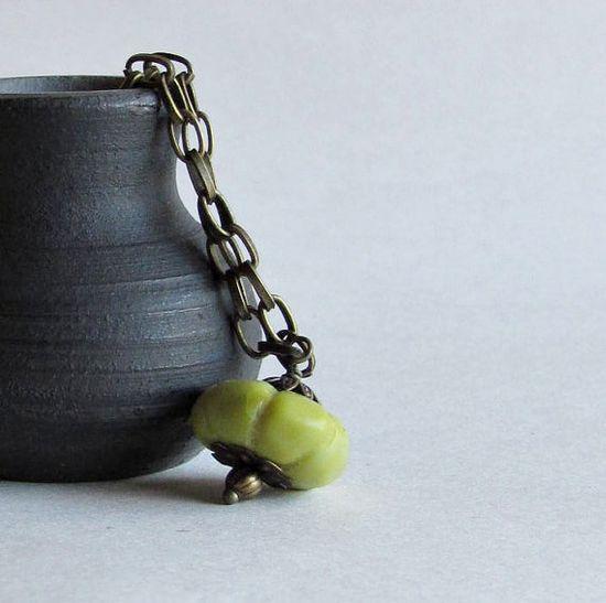 Olive Green Pumpkin Necklace  Women's Jewelry   by heartsabustin, $32.00
