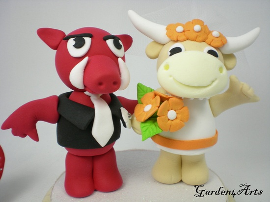[  marriage...doomed, y'all! ]    Custom Arkansas & Texas Wedding Cake Topper- Unique College Mascot Love Couple with Beautiful Stand. $89.00, via Etsy.