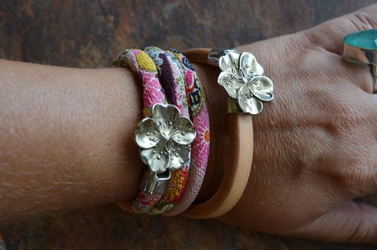 Leather Sakura Wrap Bracelet « SilverBotanica – Handmade Jewelry designed by Alicia Hanson and Hi Octane Industries Inc.