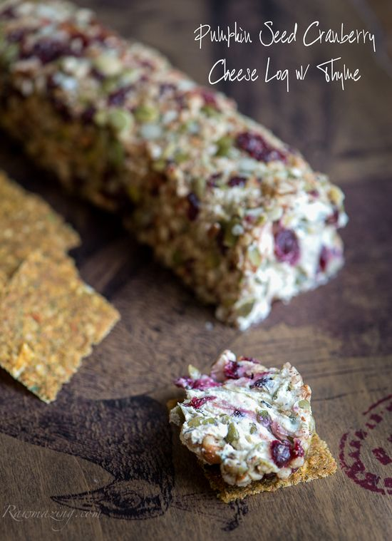 """Pumpkin Seed Cranberry """"Cheese"""" Log with Thyme"""