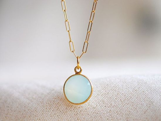 Aqua Blue Green Chalcedony Gold Necklace by NohoLife