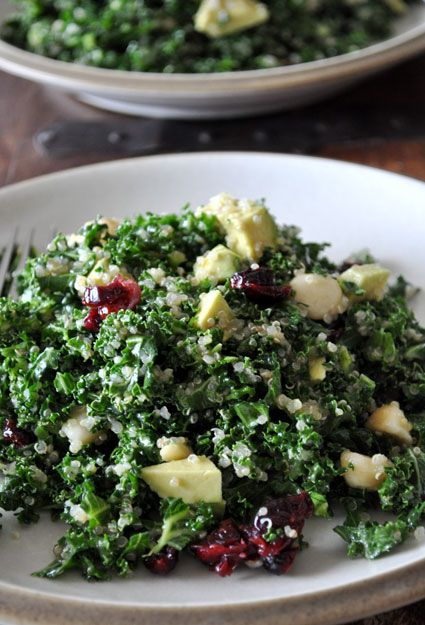Kale salad with quinoa, from Mountain Mama Cooks.