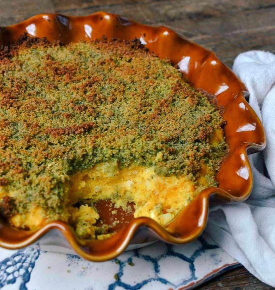 Creamy Butternut Squash Casserole with Herbed Bread Crumbs