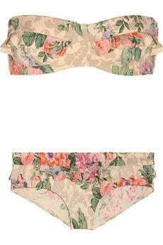 Devoted floral-print ruffled bikini