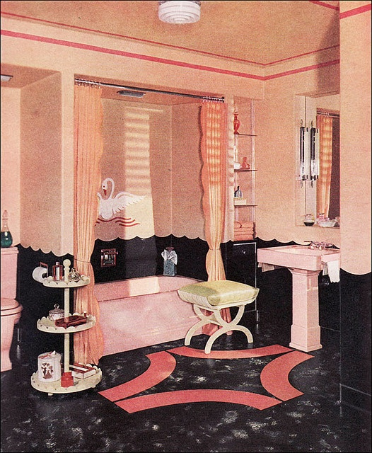 1940 Armstrong Bathroom with Pink & Swans!    This ad ran in a pre-War Ladies Home Journal and should really appeal to the mid-century swan, scallop, and pink aficionados among us. What's not to love! This one's for you!