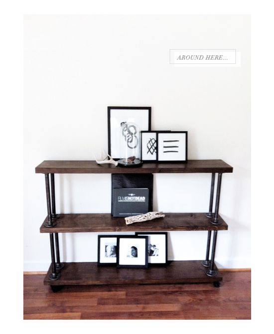 A fantastic INDUSTRIAL SHELF DIY (with lots of helpful tips and links) from Besotted Blog (rilos room)