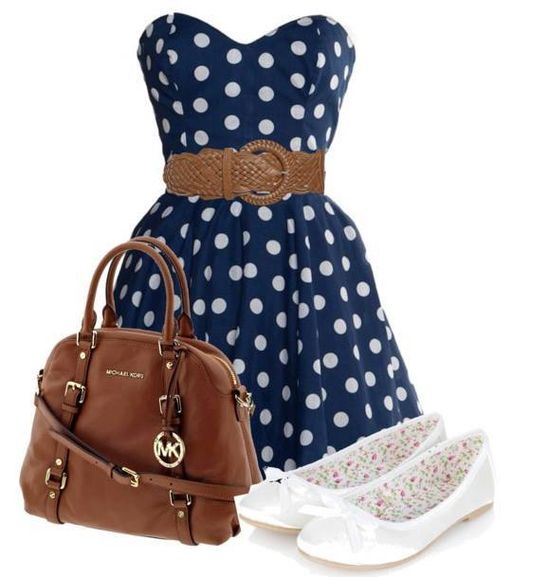 The blue poked dotted dress with the belt is amazing the brown bag with the brown belt makes the bag match then the white shoes work well with the dots I love the outfit it is very nice my rate is a 8.8 comment ur rate or what u think
