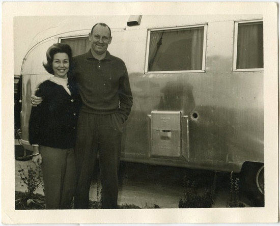 1964 Couple with Airstream Travel Trailer  snapshot by Snapatorium, 5.00