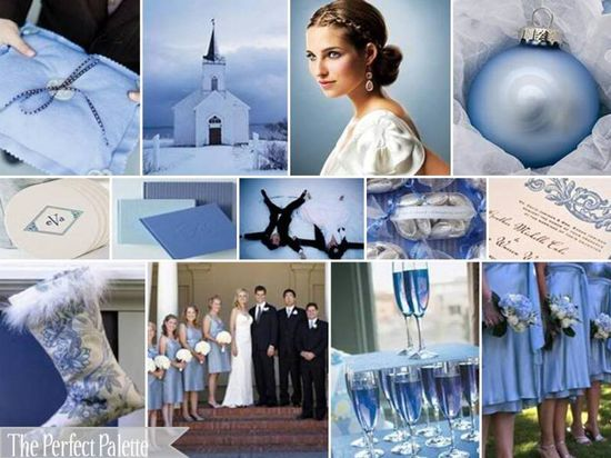 Slate Blue, Powder Blue, Sky Blue, Silver + White. Perfect for a winter wedding