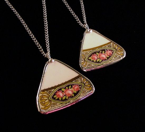 Matching necklaces made from a broken rose china plate by Dishfunctional Designs