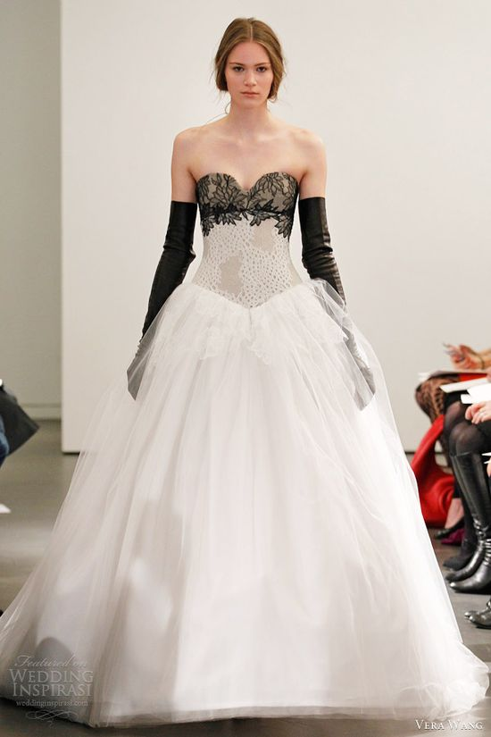 vera wang bridal spring 2014 strapless ball gown black lace bodice