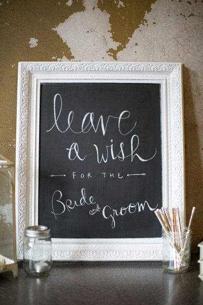 Cute wedding reception chalkboard sign. Like the chalkboard in nice frame but gold frame instead of white