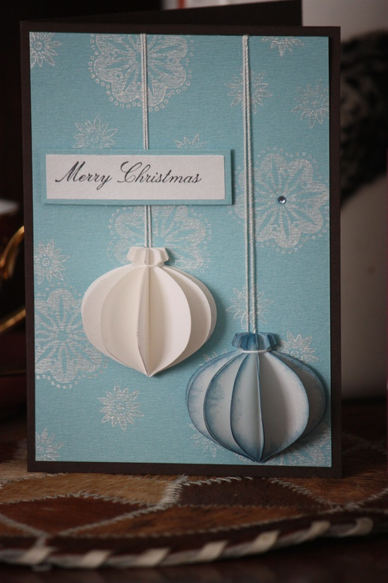Christmas Card - Stampin' Up 3D ornament.